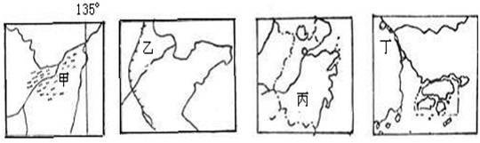 读我国四个地区的简图,回答14~15题
