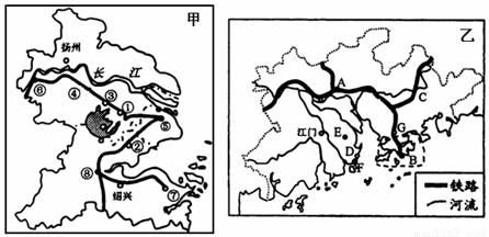 读长江三角洲和珠江三角洲工业基地示意图,回答下列问题.(11分)