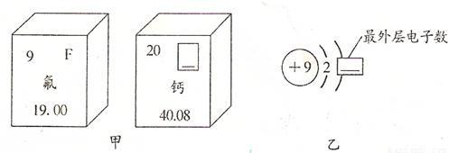 图乙是氟原子的原子结构示意图