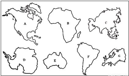 读下面七大洲轮廓图,完成下面各题