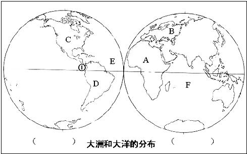 读世界大洲和大洋的分布图,回答问题