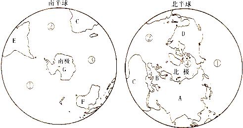 """读""""南北半球海陆分布图"""",并据图回答问题"""