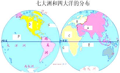 读大洲和大洋分布图,完成下列问题