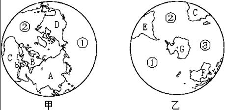 阅读南北半球海陆分布图,回答下列问题.