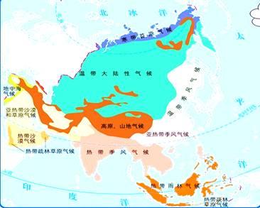 亚洲地囹�9�%9�._读《亚洲的气候类型图》,回答(9分)