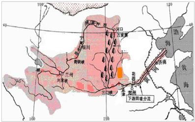 在黄河图中找到支流渭河,汾河,水电站:龙羊峡(上游),小浪底(中游)
