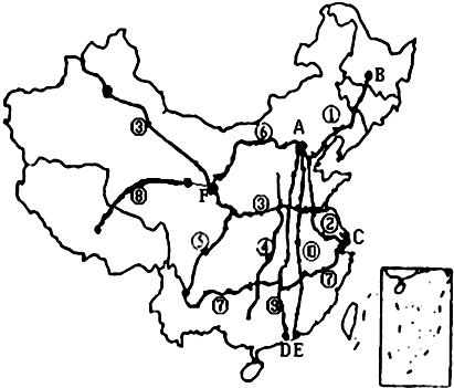 """""""习题详情  (1)写出下列铁路线的名称: ②京沪线;③陇海--兰新线;⑤宝"""