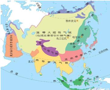 1 亚洲各种气候类型中,序号 所代表的 气候类型分布面积最广. 2 由