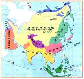 亚洲地囹�9�%9�._分析亚洲气候类型分布图完成