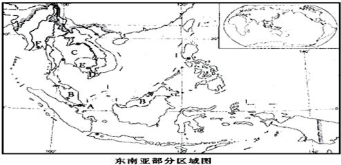 (6)中南半岛地形,河流的分布特点是山河相间,纵列分布 .