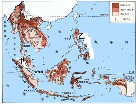 """""""读""""东南亚地形图"""",回答下列问题.(1).""""习题详情"""