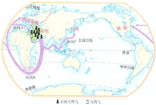 读中东地区石油外运航运图,完成各题.图片