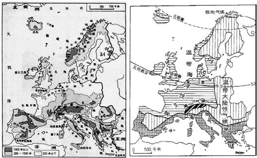 材料一:欧洲西部地形和气候分布图
