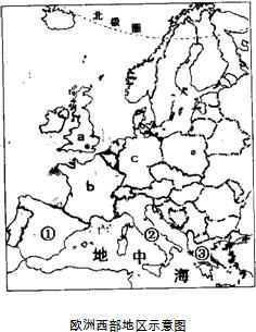 读欧洲西部图,完成下列问题.(1)读A、B、C三城