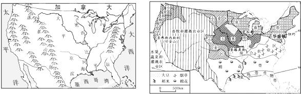 是世界上土地面积最广的国家 (4)根据美国本土地形,河流分布示意图(左