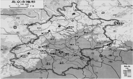 读北京地形图,完成下列各题