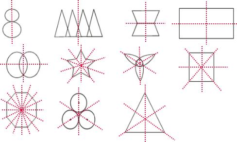 画出下列图形的对称轴.