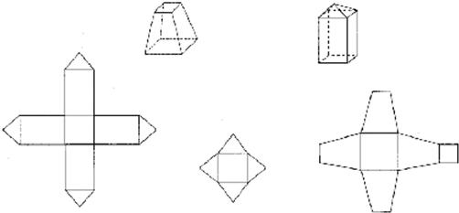 找出下面立体图形所对应的展开图,并用线连一连.