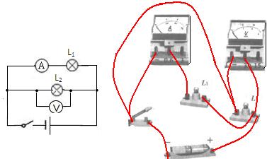 两个灯泡串联或并联都可以,若灯泡串联,电流表测量串联电路的电流