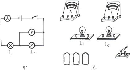 按照图甲所示的电路图,在图乙中连接实物电路.