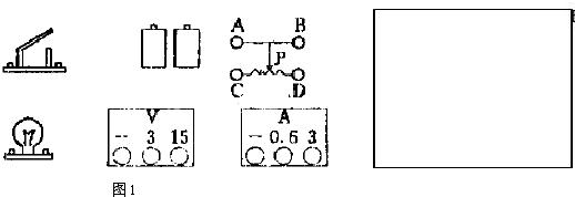 利用图1所给器材,在方框中画出测量小灯泡电阻的电路图,并在图1上根据