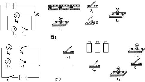 请根据图1电路图将图2实物电路连接完整,要求滑片向右