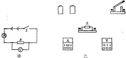 """用电压表和电流表测电阻的实验,如果用2个干电池,电流表接"""" """"和""""0."""