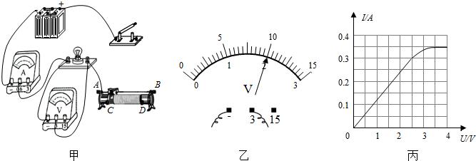 习题小雷想知道小灯泡的亮暗程度与什么因素有关,于是找来额定电流均小于0.6A,额定电压是2.5V的灯L,先后接在电源电压恒为6V的电路中,按照如图1所示的电路开始探究.(1)请你用笔画线代替导线,根据图1所示的电路图,将图2所示实物图连接完整.(2)若小雷连接电路后闭合开关,灯L几乎不发光,移动滑片P也不能改变灯的亮度.原因是他把滑动变阻器的____(选填A、B或C、D)接线柱接入了电路.(3)小雷排除故障检查电路无误后,闭合开关,滑片P向____(选填A或B)端移动,使灯L发光,测出灯L