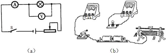 ①请你用笔画线代替导线,按照题图(a)图所示电路,帮小华将题(b)图中