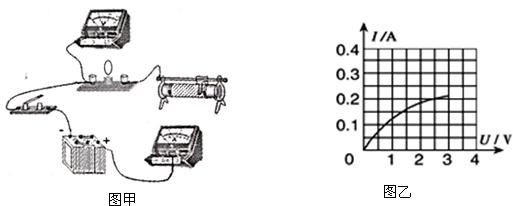 """小明做""""测定小灯泡电功率""""的实验时,连接的实物电路如图甲所示,电源"""