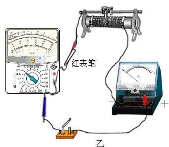 """变阻器和未知内阻的微安表,来测量多用电表""""×1k""""挡内部电池的电动势e"""