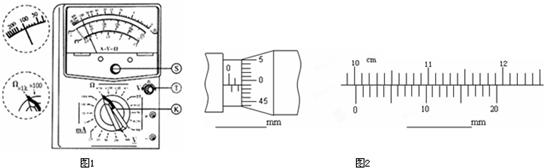 """""""习题详情  (1)如图1所示,s,t,k为多用电表面板上的可调部件,在使用该"""
