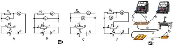 (3)某同学在描绘小灯泡的伏安特性曲线的实验中,连接的测量电路(如图2