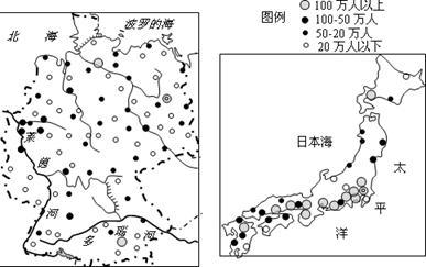 读德国和日本不同等级城市分布图,完成下列要