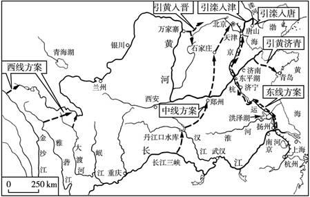 (1) 观察两图,南水北调东线方案,基本沿京杭大运河路线北上,调水