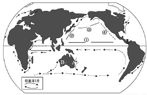 """读""""世界表层部分洋流分布图"""",回答下列问题.(10分)"""