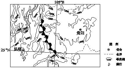 """""""习题详情  下图是我国西南部分地区锋面位置示意图,所示天气系统冬季"""