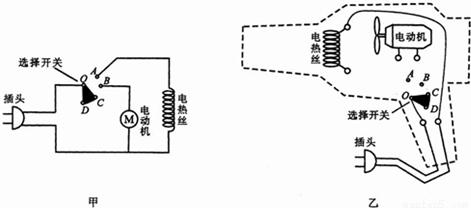 如甲图是电吹风的电路图,乙图是电路元件实物图,选择开关绕o点转动,可