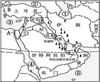 请写出它的名称: b海峡 (3)中东地区是目前图片
