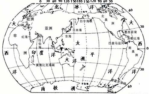 """""""读""""世界大洲大洋分布图"""",完成下列要求(.""""习题详情"""