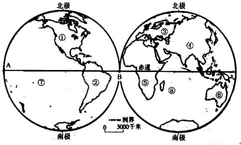 读世界海陆分布图,回答下列问题.(28分)
