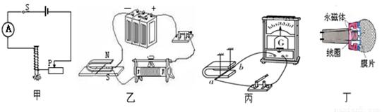丁图所示的动圈式话筒是利用电磁感应现象工作的