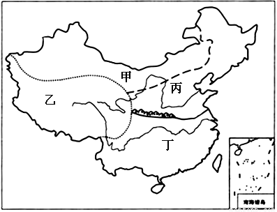 """读""""我国四大地理区域图"""",回答下列问题.(5分)图片"""