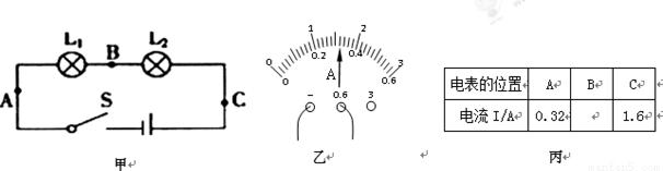 """知识点 """"(7分)如图是""""探究串联电路电流特点"""