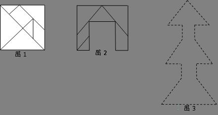 沿线剪成图1的七巧板,然后把这七块拼成图3的 火箭 图,画上轮廓
